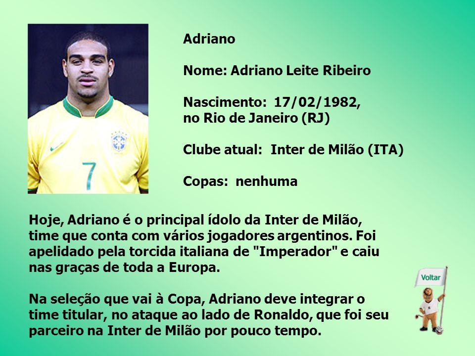 Roberto Carlos Nome: Roberto Carlos da Silva Nascimento: 10/04/1973, em Garça (SP) Clube atual: Real Madrid (ESP) Copas: 2 (1998 e 2002) Em 1995, foi contratado pela Inter de Milão por US$ 7 milhões.
