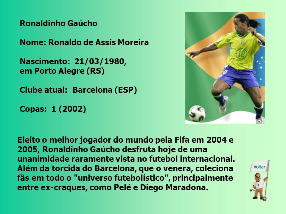 Ronaldo Nome: Ronaldo Luiz Nazário de Lima Nascimento: 22/09/1976, no Rio de Janeiro (RJ) Clube atual: Real Madrid (ESP) Copas: 3 (1994, 1998 e 2002)
