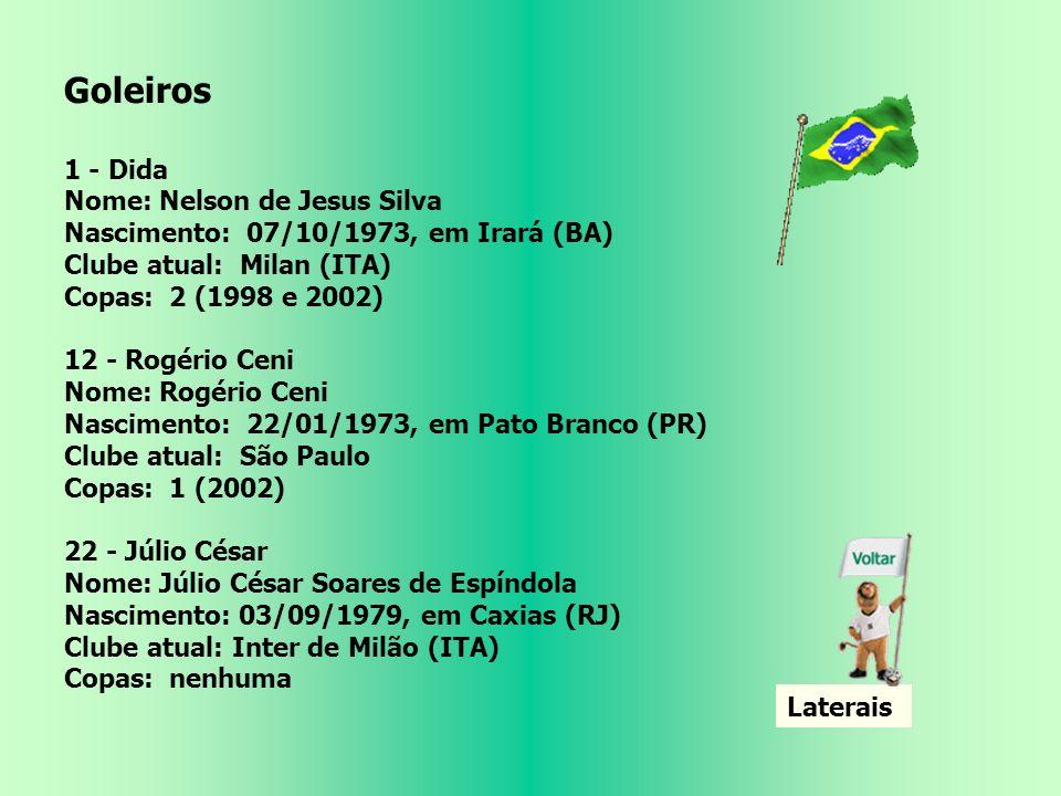 Seleção Brasileira Técnico Carlos Alberto Parreira Coordenador Técnico Zagallo Auxiliar Técnico Jairo Leal Preparadores Físicos Moraci SantAnna e Paulo Paixão Jogadores