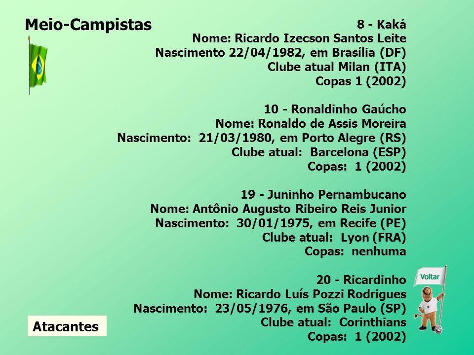 5 - Émerson Nome: Émerson Ferreira da Rosa Nascimento: 04/04/1976, em Pelotas (RS) Clube atual: Juventus (ITA) Copas: 1 (1998) 11 - Zé Roberto Nome: José Roberto da Silva Júnior Nascimento: 06/07/1974, em São Paulo (SP) Clube atual: Bayern de Munique (ALE) Copas: 1 (1998) 17 - Gilberto Silva Nome: Gilberto Aparecido da Silva Nascimento: 07/10/1976, Lagoa da Prata (MG) Clube atual: Arsenal (ING) Copas: 1 (2002) 18 - Mineiro Nome: Carlos Luciano da Silva Nascimento: 02/08/1975, em Porto Alegre (RS) Clube atual: São Paulo Copas: Nenhuma continua Meio-Campistas