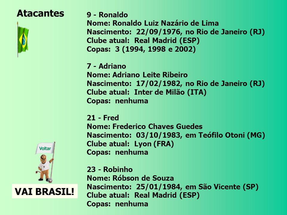 8 - Kaká Nome: Ricardo Izecson Santos Leite Nascimento 22/04/1982, em Brasília (DF) Clube atual Milan (ITA) Copas 1 (2002) 10 - Ronaldinho Gaúcho Nome: Ronaldo de Assis Moreira Nascimento: 21/03/1980, em Porto Alegre (RS) Clube atual: Barcelona (ESP) Copas: 1 (2002) 19 - Juninho Pernambucano Nome: Antônio Augusto Ribeiro Reis Junior Nascimento: 30/01/1975, em Recife (PE) Clube atual: Lyon (FRA) Copas: nenhuma 20 - Ricardinho Nome: Ricardo Luís Pozzi Rodrigues Nascimento: 23/05/1976, em São Paulo (SP) Clube atual: Corinthians Copas: 1 (2002) Meio-Campistas Atacantes