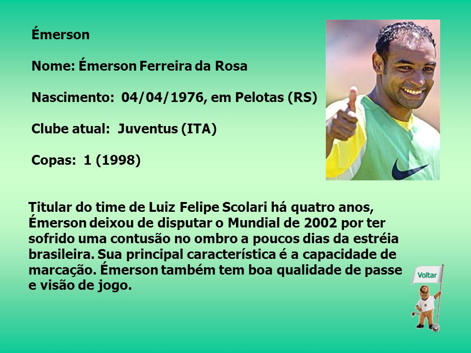 Juan Nome: Juan Silveira dos Santos Nascimento: 01/02/1979, no Rio de Janeiro (RJ) Clube atual: Bayer Leverkusen (ALE) Copas: nenhuma O zagueiro de 1,