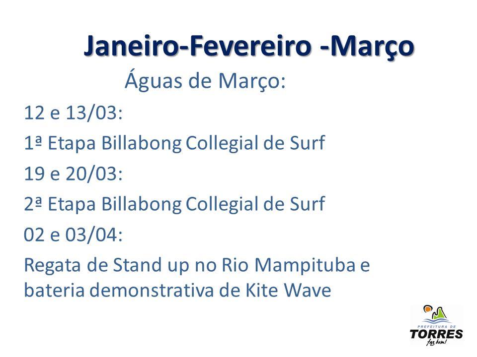 Águas de Março: 12 e 13/03: 1ª Etapa Billabong Collegial de Surf 19 e 20/03: 2ª Etapa Billabong Collegial de Surf 02 e 03/04: Regata de Stand up no Rio Mampituba e bateria demonstrativa de Kite Wave Janeiro-Fevereiro -Março Janeiro-Fevereiro -Março