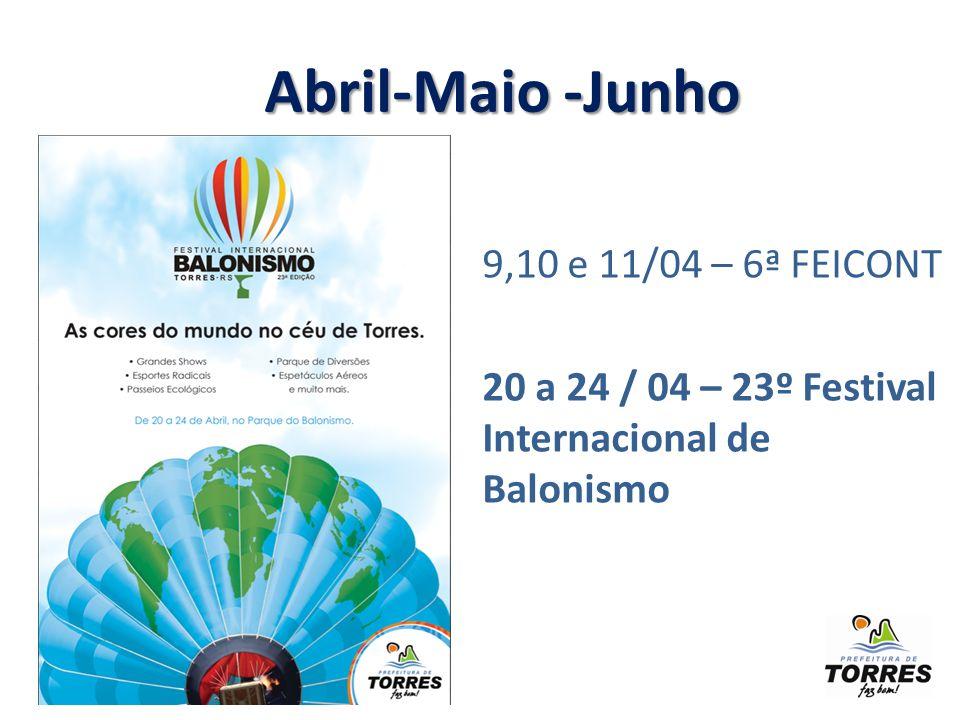 9,10 e 11/04 – 6ª FEICONT 20 a 24 / 04 – 23º Festival Internacional de Balonismo Abril-Maio -Junho Abril-Maio -Junho