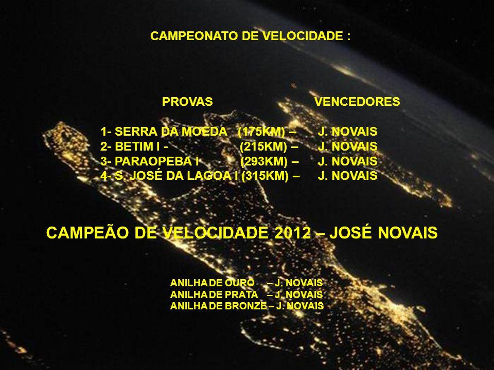 CAMPEONATO DE VELOCIDADE : PROVAS 1- SERRA DA MOEDA (175KM) – 2- BETIM I - (215KM) – 3- PARAOPEBA I (293KM) – 4- S.