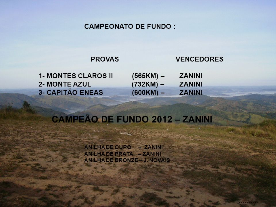 CAMPEONATO DE FUNDO : PROVAS 1- MONTES CLAROS II (565KM) – 2- MONTE AZUL (732KM) – 3- CAPITÃO ENEAS (600KM) – VENCEDORES ZANINI ZANINI ZANINI CAMPEÃO DE FUNDO 2012 – ZANINI ANILHA DE OURO – ZANINI ANILHA DE PRATA – ZANINI ANILHA DE BRONZE – J.
