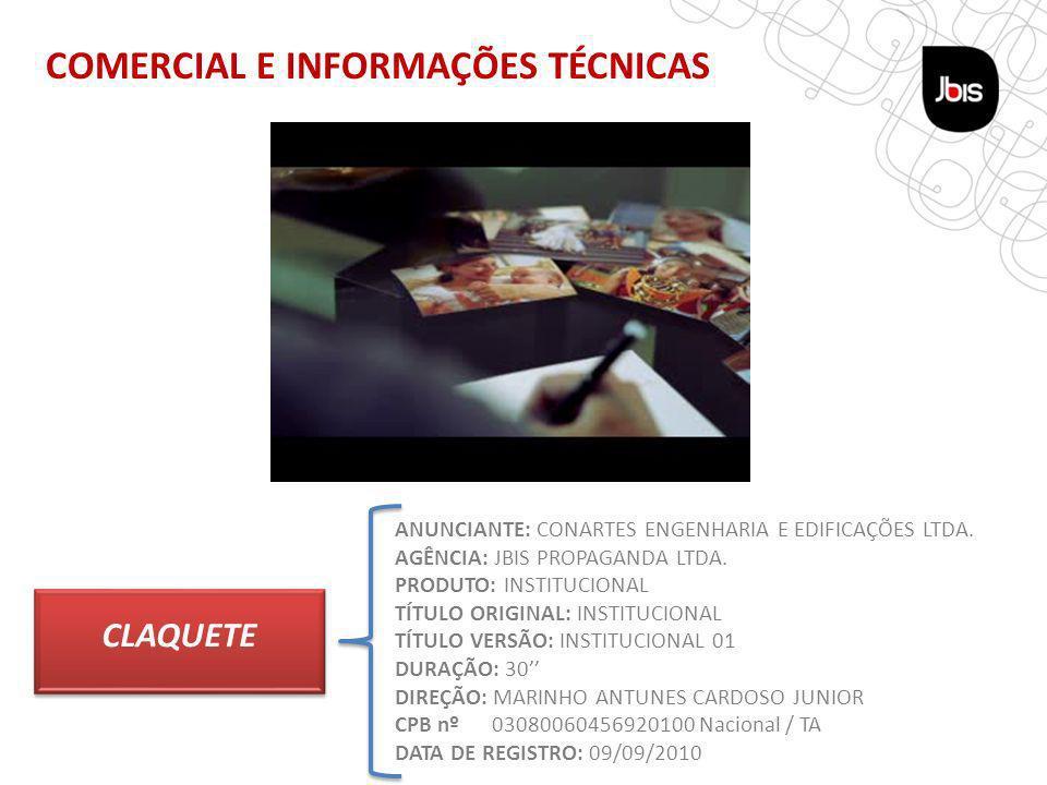 COMERCIAL E INFORMAÇÕES TÉCNICAS TÁTICA REVISTA CLAQUETE ANUNCIANTE: CONARTES ENGENHARIA E EDIFICAÇÕES LTDA.