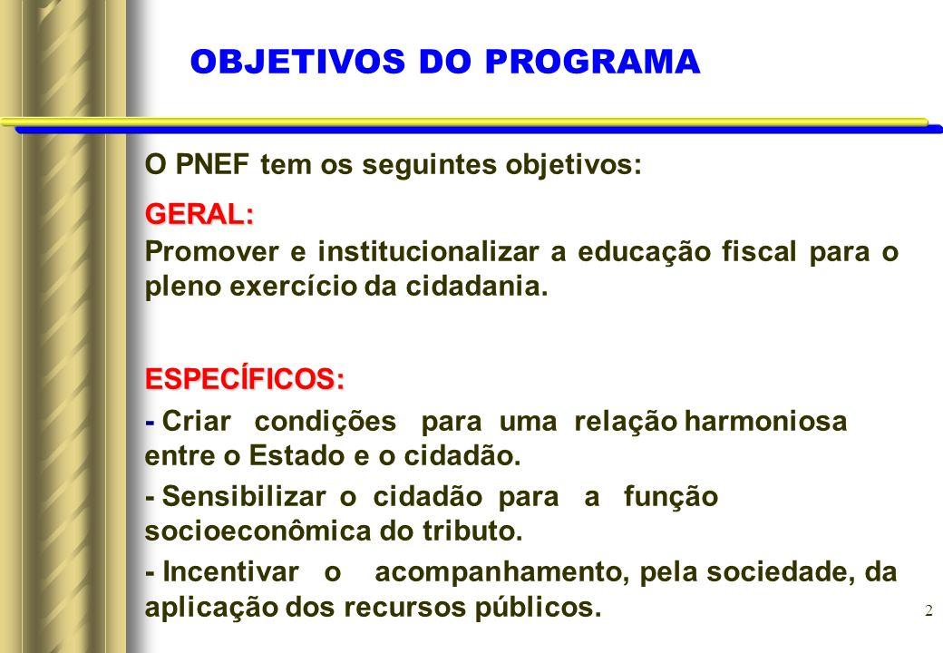 2 O PNEF tem os seguintes objetivos:GERAL: Promover e institucionalizar a educação fiscal para o pleno exercício da cidadania.ESPECÍFICOS: - Criar con