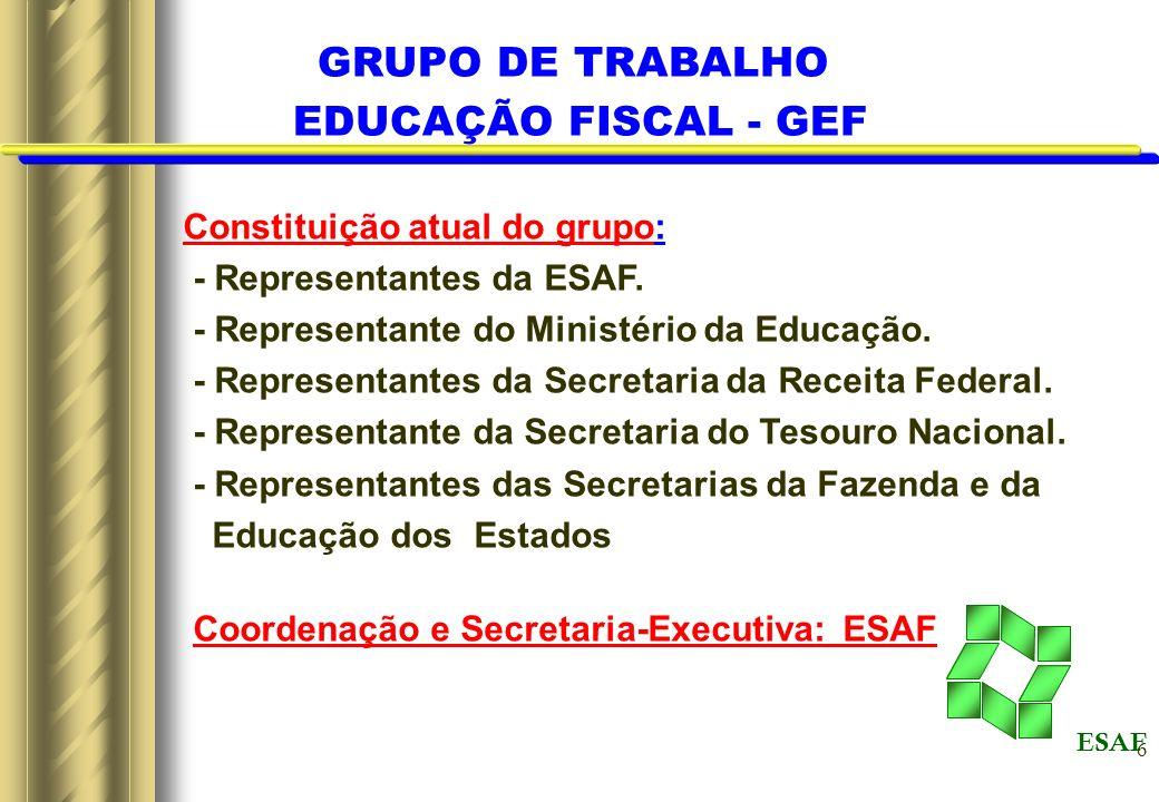 6 Constituição atual do grupo: - Representantes da ESAF. - Representante do Ministério da Educação. - Representantes da Secretaria da Receita Federal.