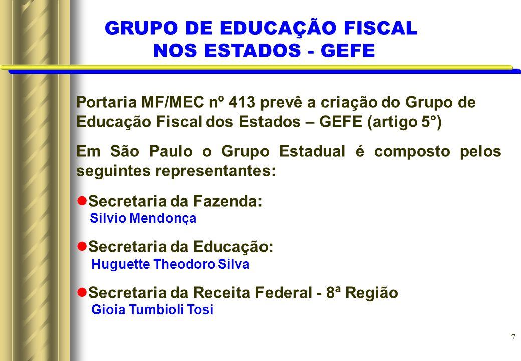 7 Portaria MF/MEC nº 413 prevê a criação do Grupo de Educação Fiscal dos Estados – GEFE (artigo 5°) Em São Paulo o Grupo Estadual é composto pelos seg