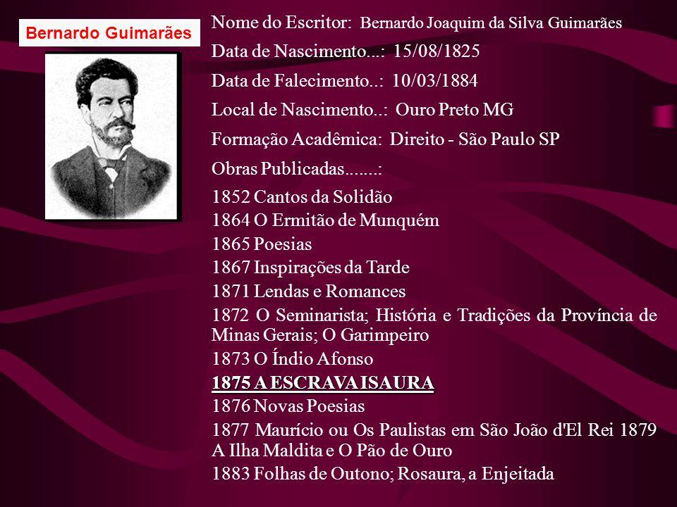 Bernardo Guimarães Nome do Escritor: Bernardo Joaquim da Silva Guimarães Data de Nascimento...: 15/08/1825 Data de Falecimento..: 10/03/1884 Local de