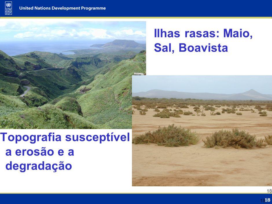 18 Topografia susceptível a erosão e a degradação Ilhas rasas: Maio, Sal, Boavista