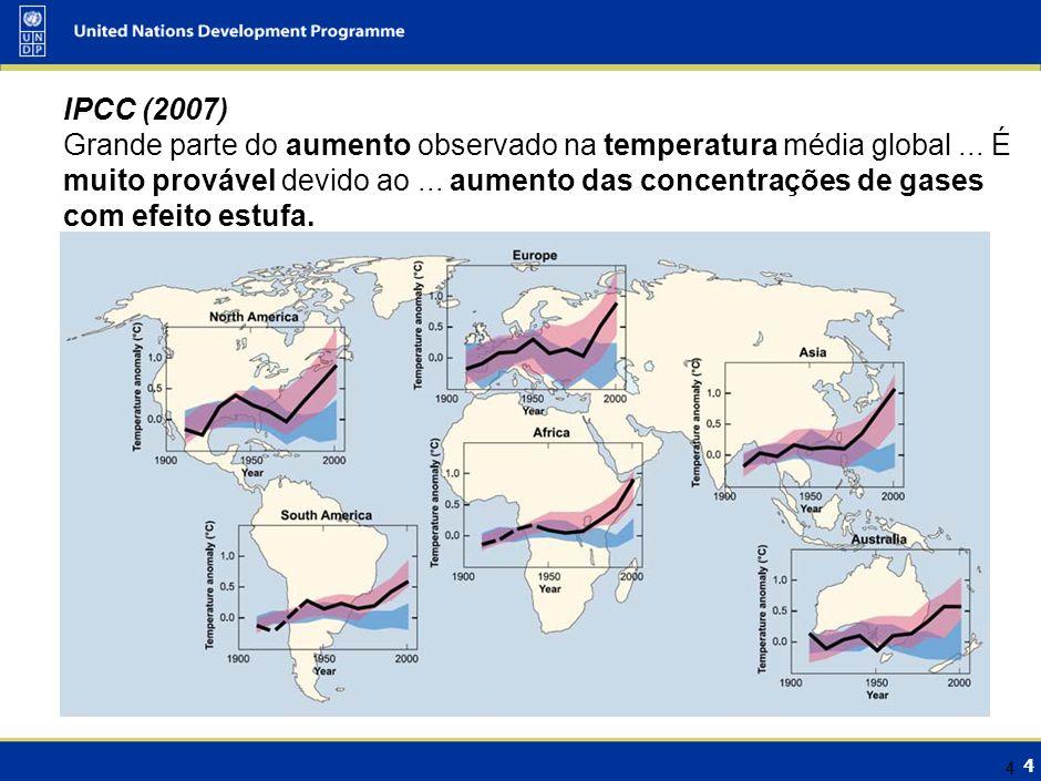 4 4 IPCC (2007) Grande parte do aumento observado na temperatura média global... É muito provável devido ao... aumento das concentrações de gases com