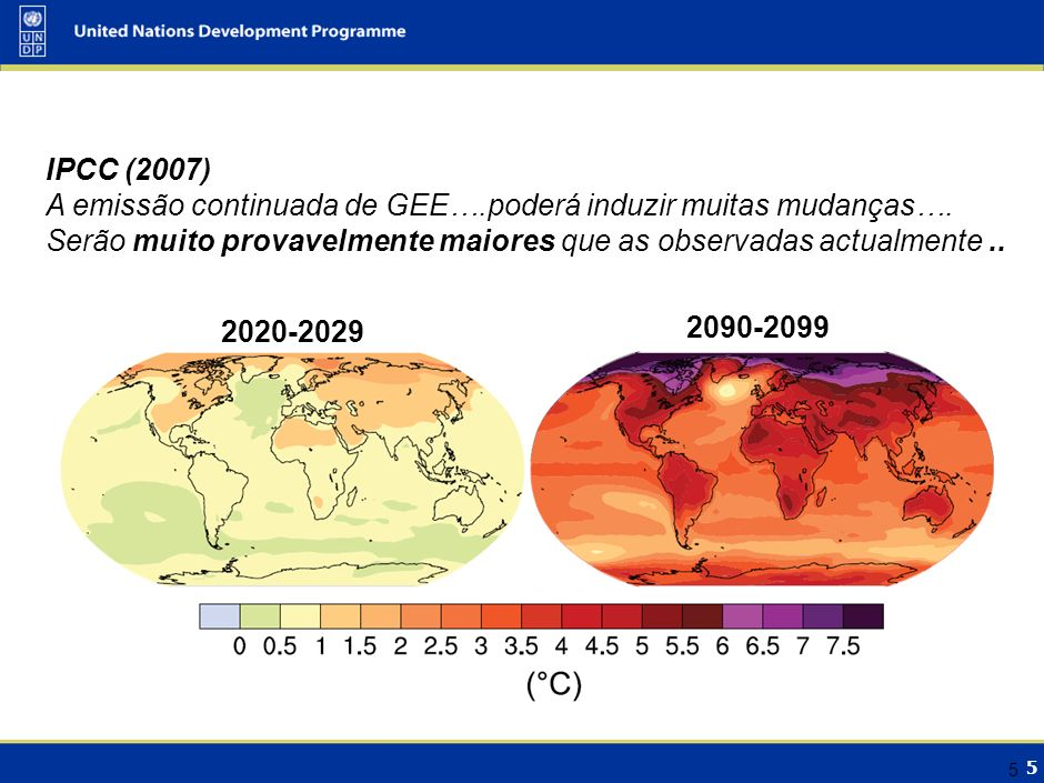 5 5 IPCC (2007) A emissão continuada de GEE….poderá induzir muitas mudanças…. Serão muito provavelmente maiores que as observadas actualmente.. 2090-2