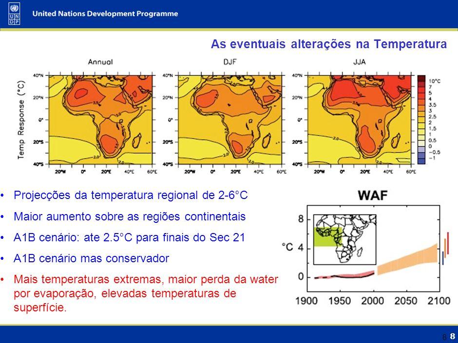8 8 As eventuais alterações na Temperatura Projecções da temperatura regional de 2-6°C Maior aumento sobre as regiões continentais A1B cenário: ate 2.