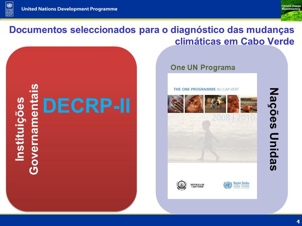 4 Nações Unidas Instituições Governamentais Documentos seleccionados para o diagnóstico das mudanças climáticas em Cabo Verde One UN Programa DECRP-II