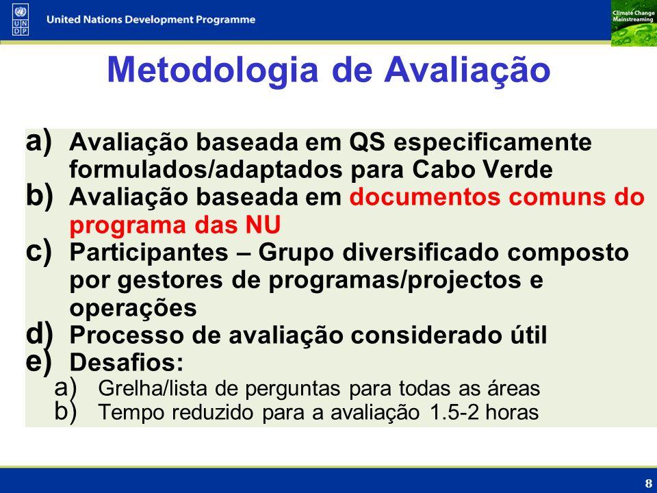 8 Metodologia de Avaliação a) Avaliação baseada em QS especificamente formulados/adaptados para Cabo Verde b) Avaliação baseada em documentos comuns d