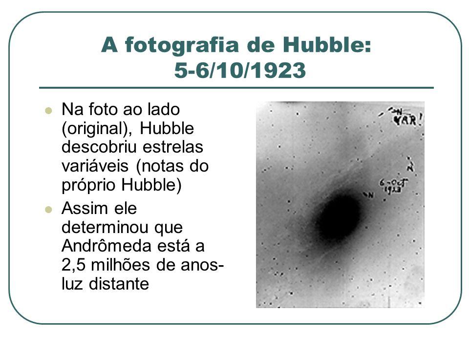 A fotografia de Hubble: 5-6/10/1923 Na foto ao lado (original), Hubble descobriu estrelas variáveis (notas do próprio Hubble) Assim ele determinou que