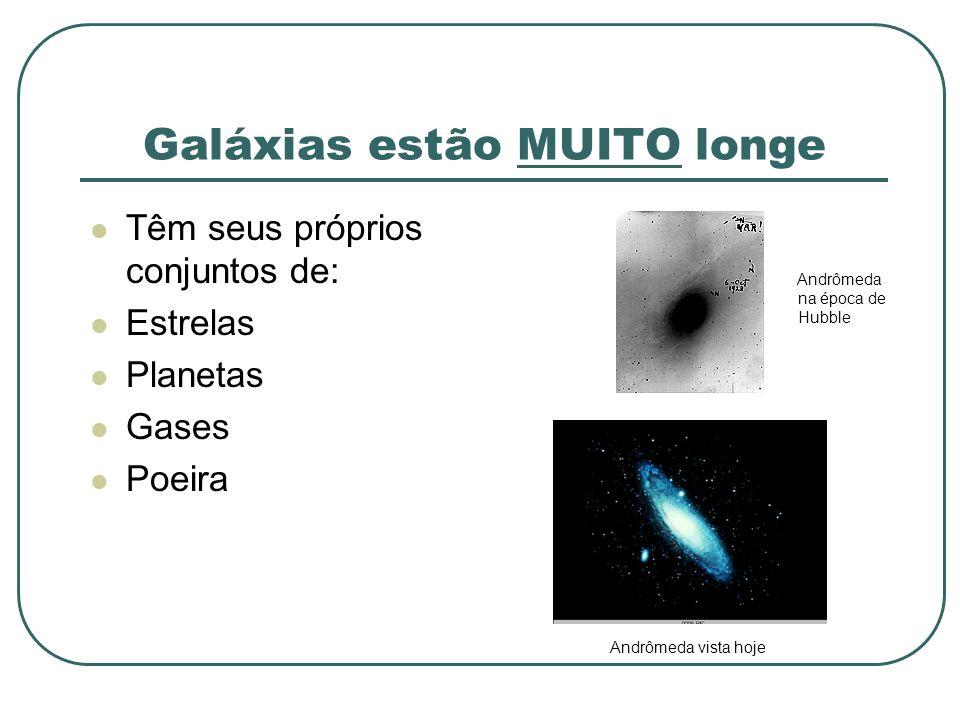 Galáxias estão MUITO longe Têm seus próprios conjuntos de: Estrelas Planetas Gases Poeira Andrômeda na época de Hubble Andrômeda vista hoje