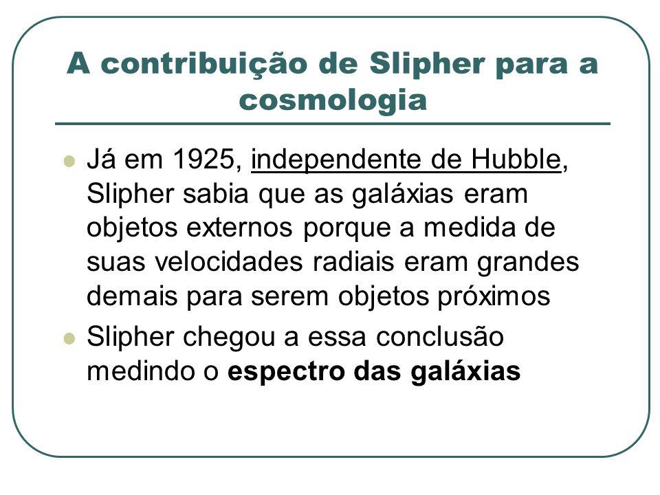 A contribuição de Slipher para a cosmologia Já em 1925, independente de Hubble, Slipher sabia que as galáxias eram objetos externos porque a medida de