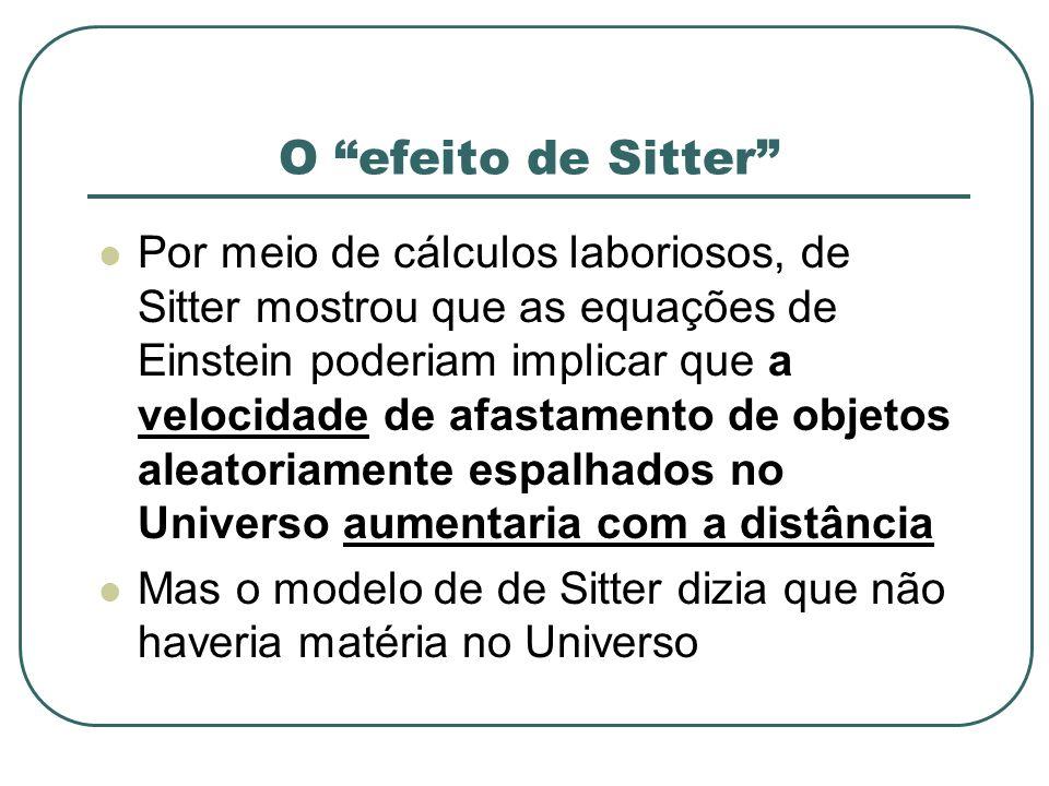 O efeito de Sitter Por meio de cálculos laboriosos, de Sitter mostrou que as equações de Einstein poderiam implicar que a velocidade de afastamento de