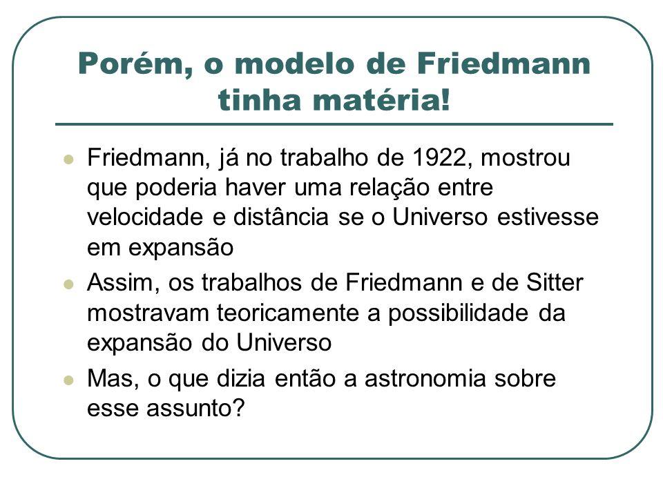 Porém, o modelo de Friedmann tinha matéria! Friedmann, já no trabalho de 1922, mostrou que poderia haver uma relação entre velocidade e distância se o
