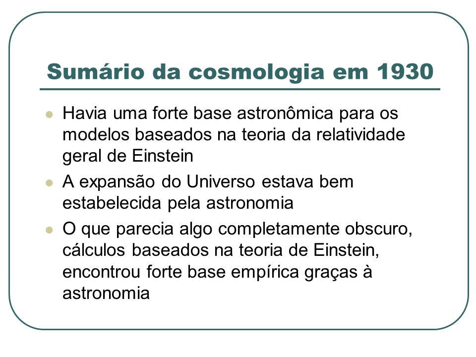 Sumário da cosmologia em 1930 Havia uma forte base astronômica para os modelos baseados na teoria da relatividade geral de Einstein A expansão do Univ