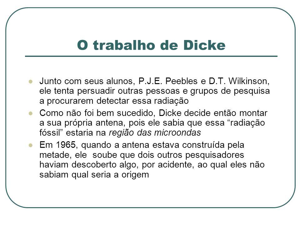 O trabalho de Dicke Junto com seus alunos, P.J.E. Peebles e D.T. Wilkinson, ele tenta persuadir outras pessoas e grupos de pesquisa a procurarem detec