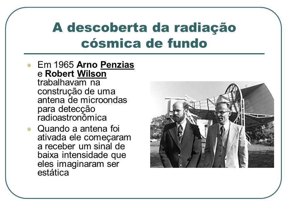 A descoberta da radiação cósmica de fundo Em 1965 Arno Penzias e Robert Wilson trabalhavam na construção de uma antena de microondas para detecção rad