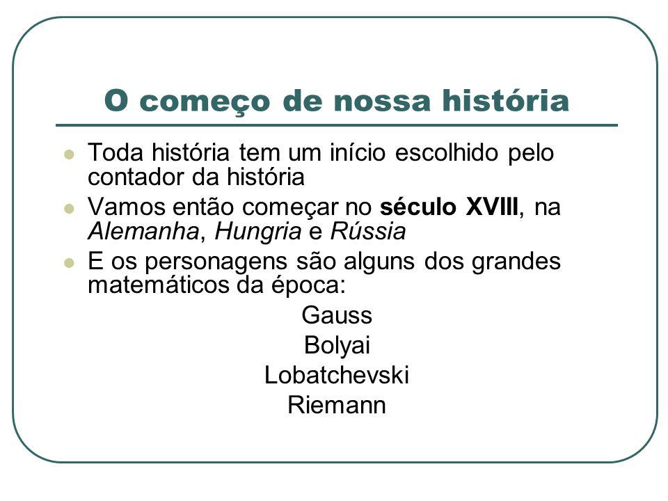 O começo de nossa história Toda história tem um início escolhido pelo contador da história Vamos então começar no século XVIII, na Alemanha, Hungria e