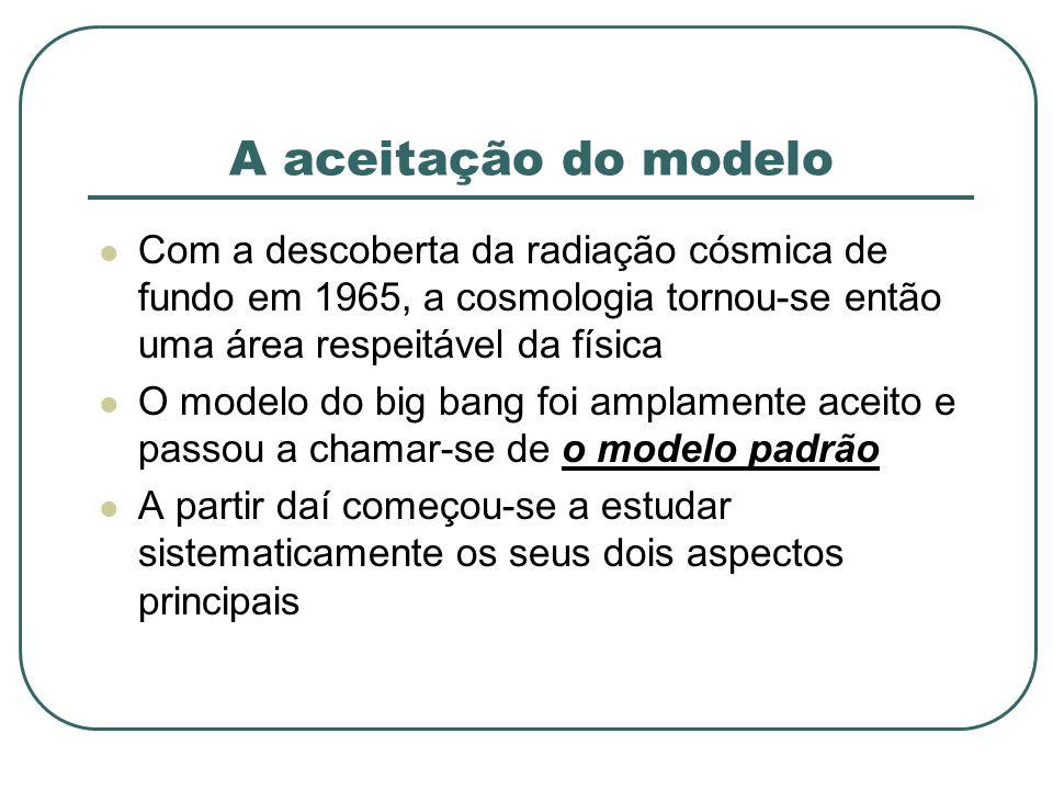 A aceitação do modelo Com a descoberta da radiação cósmica de fundo em 1965, a cosmologia tornou-se então uma área respeitável da física O modelo do b