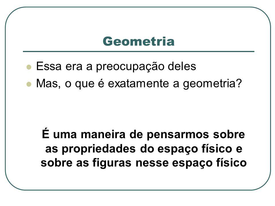 Geometria Essa era a preocupação deles Mas, o que é exatamente a geometria? É uma maneira de pensarmos sobre as propriedades do espaço físico e sobre