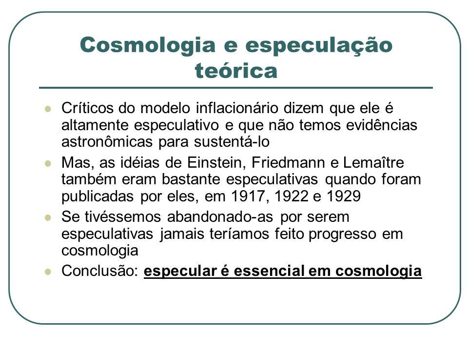 Cosmologia e especulação teórica Críticos do modelo inflacionário dizem que ele é altamente especulativo e que não temos evidências astronômicas para