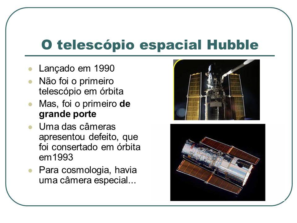 O telescópio espacial Hubble Lançado em 1990 Não foi o primeiro telescópio em órbita Mas, foi o primeiro de grande porte Uma das câmeras apresentou de