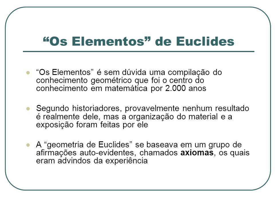 Os Elementos de Euclides Os Elementos é sem dúvida uma compilação do conhecimento geométrico que foi o centro do conhecimento em matemática por 2.000