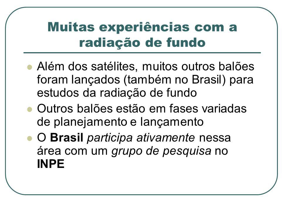 Muitas experiências com a radiação de fundo Além dos satélites, muitos outros balões foram lançados (também no Brasil) para estudos da radiação de fun