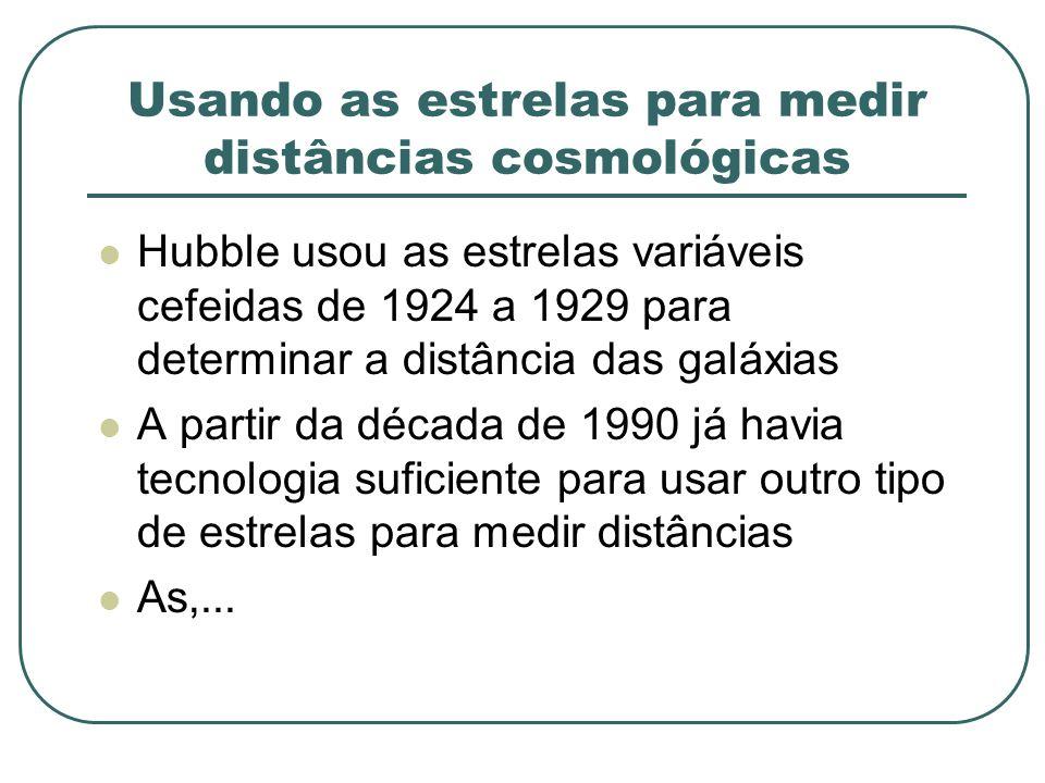 Usando as estrelas para medir distâncias cosmológicas Hubble usou as estrelas variáveis cefeidas de 1924 a 1929 para determinar a distância das galáxi
