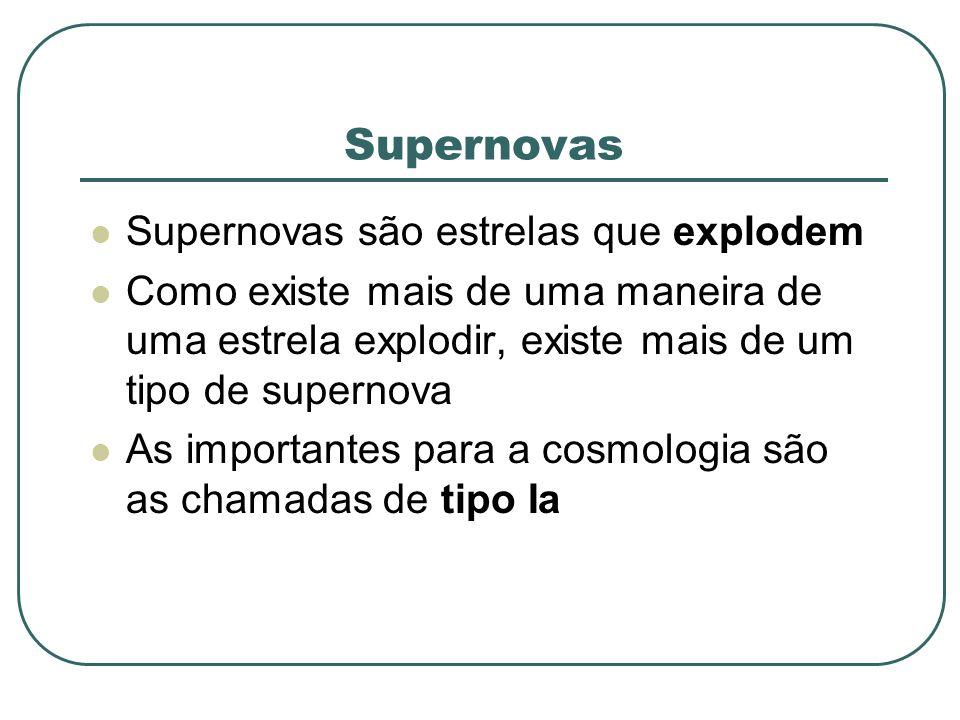 Supernovas Supernovas são estrelas que explodem Como existe mais de uma maneira de uma estrela explodir, existe mais de um tipo de supernova As import