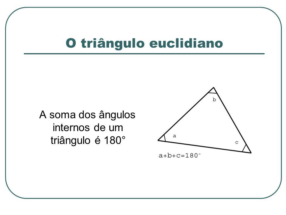 O triângulo euclidiano A soma dos ângulos internos de um triângulo é 180°