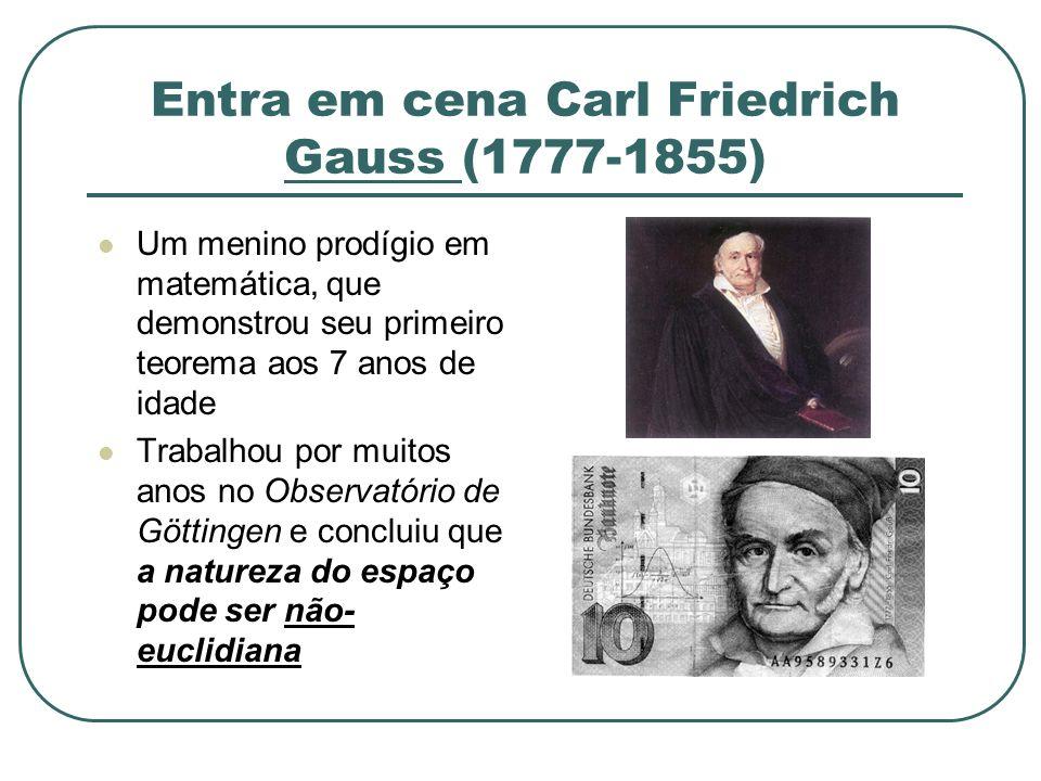 Entra em cena Carl Friedrich Gauss (1777-1855) Um menino prodígio em matemática, que demonstrou seu primeiro teorema aos 7 anos de idade Trabalhou por