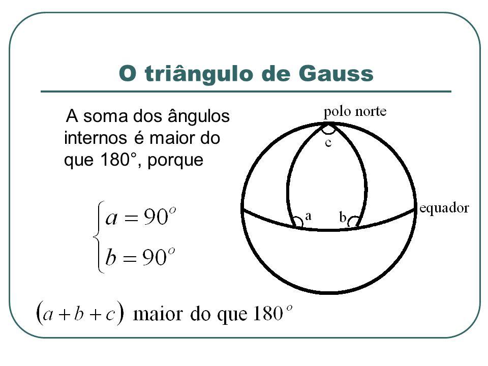 O triângulo de Gauss A soma dos ângulos internos é maior do que 180°, porque