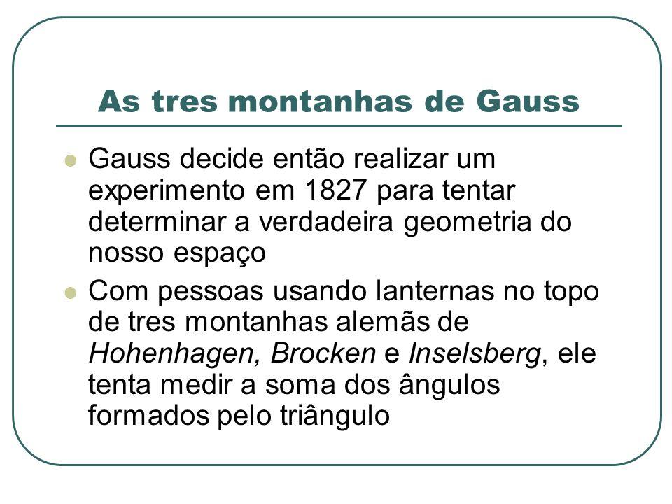 As tres montanhas de Gauss Gauss decide então realizar um experimento em 1827 para tentar determinar a verdadeira geometria do nosso espaço Com pessoa