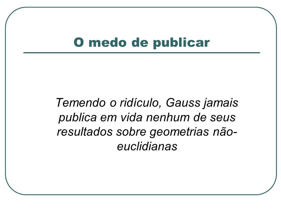 O medo de publicar Temendo o ridículo, Gauss jamais publica em vida nenhum de seus resultados sobre geometrias não- euclidianas