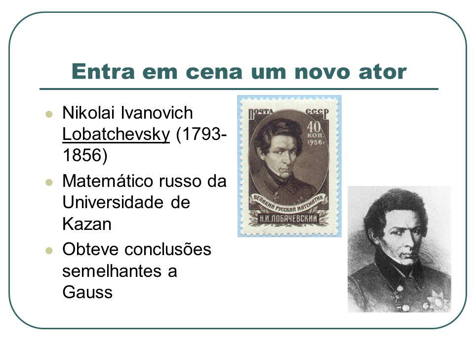 Entra em cena um novo ator Nikolai Ivanovich Lobatchevsky (1793- 1856) Matemático russo da Universidade de Kazan Obteve conclusões semelhantes a Gauss