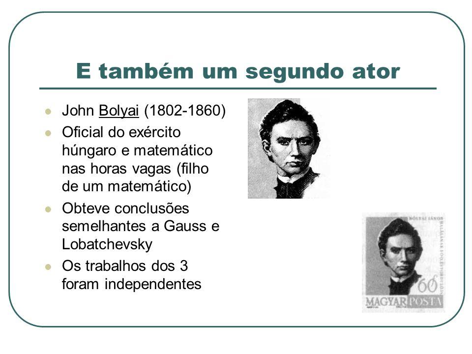 E também um segundo ator John Bolyai (1802-1860) Oficial do exército húngaro e matemático nas horas vagas (filho de um matemático) Obteve conclusões s