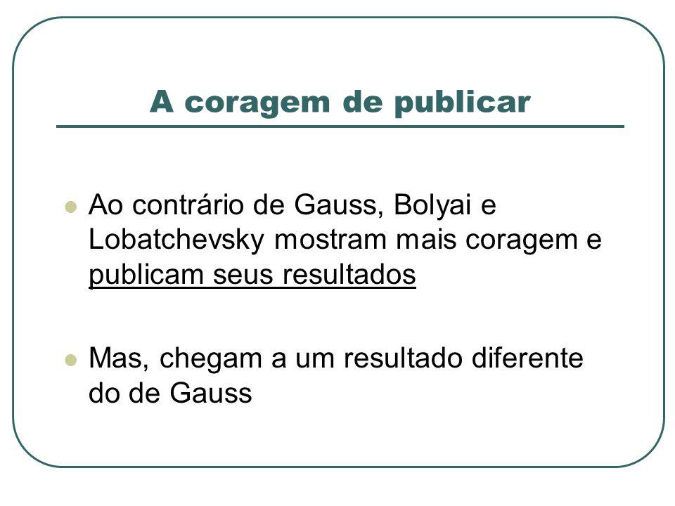 A coragem de publicar Ao contrário de Gauss, Bolyai e Lobatchevsky mostram mais coragem e publicam seus resultados Mas, chegam a um resultado diferent