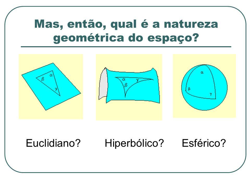 Mas, então, qual é a natureza geométrica do espaço? Euclidiano?Esférico?Hiperbólico?