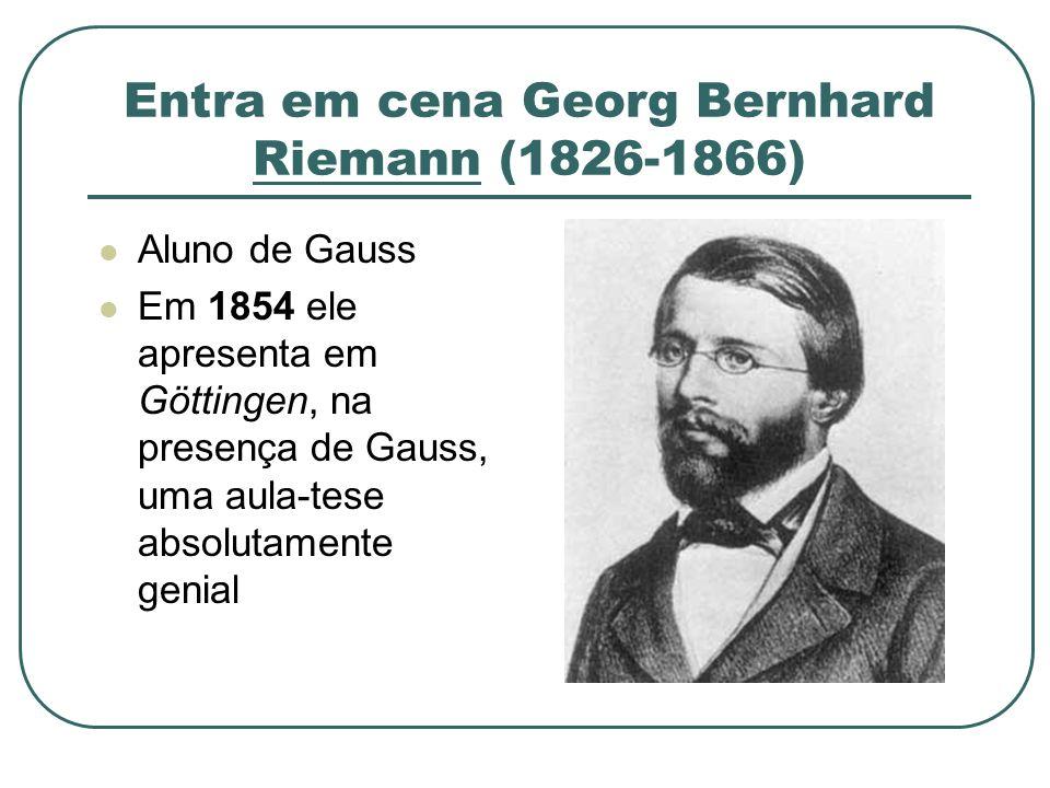 Entra em cena Georg Bernhard Riemann (1826-1866) Aluno de Gauss Em 1854 ele apresenta em Göttingen, na presença de Gauss, uma aula-tese absolutamente