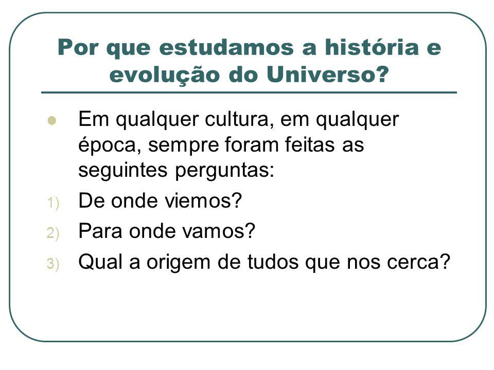 Por que estudamos a história e evolução do Universo? Em qualquer cultura, em qualquer época, sempre foram feitas as seguintes perguntas: 1) De onde vi