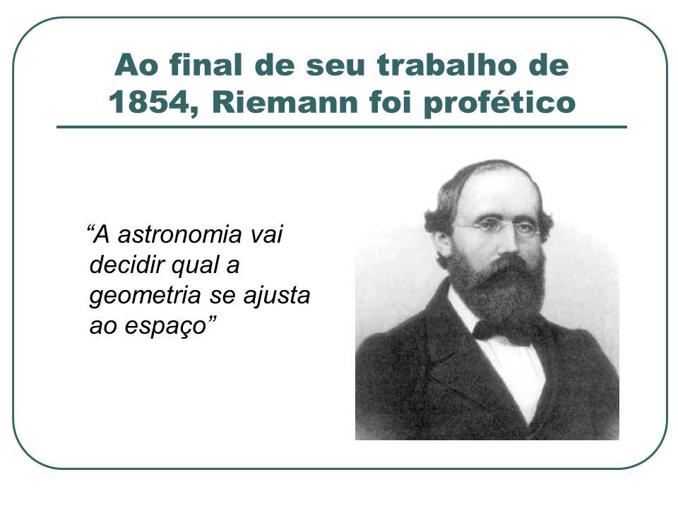 Ao final de seu trabalho de 1854, Riemann foi profético A astronomia vai decidir qual a geometria se ajusta ao espaço